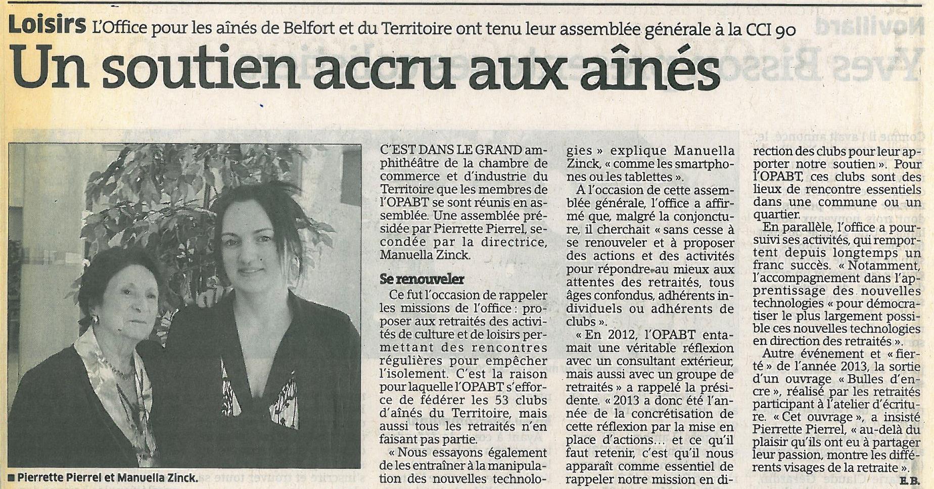 """""""Un soutien accru aux aînés - Est Républicain 15/03/2014"""
