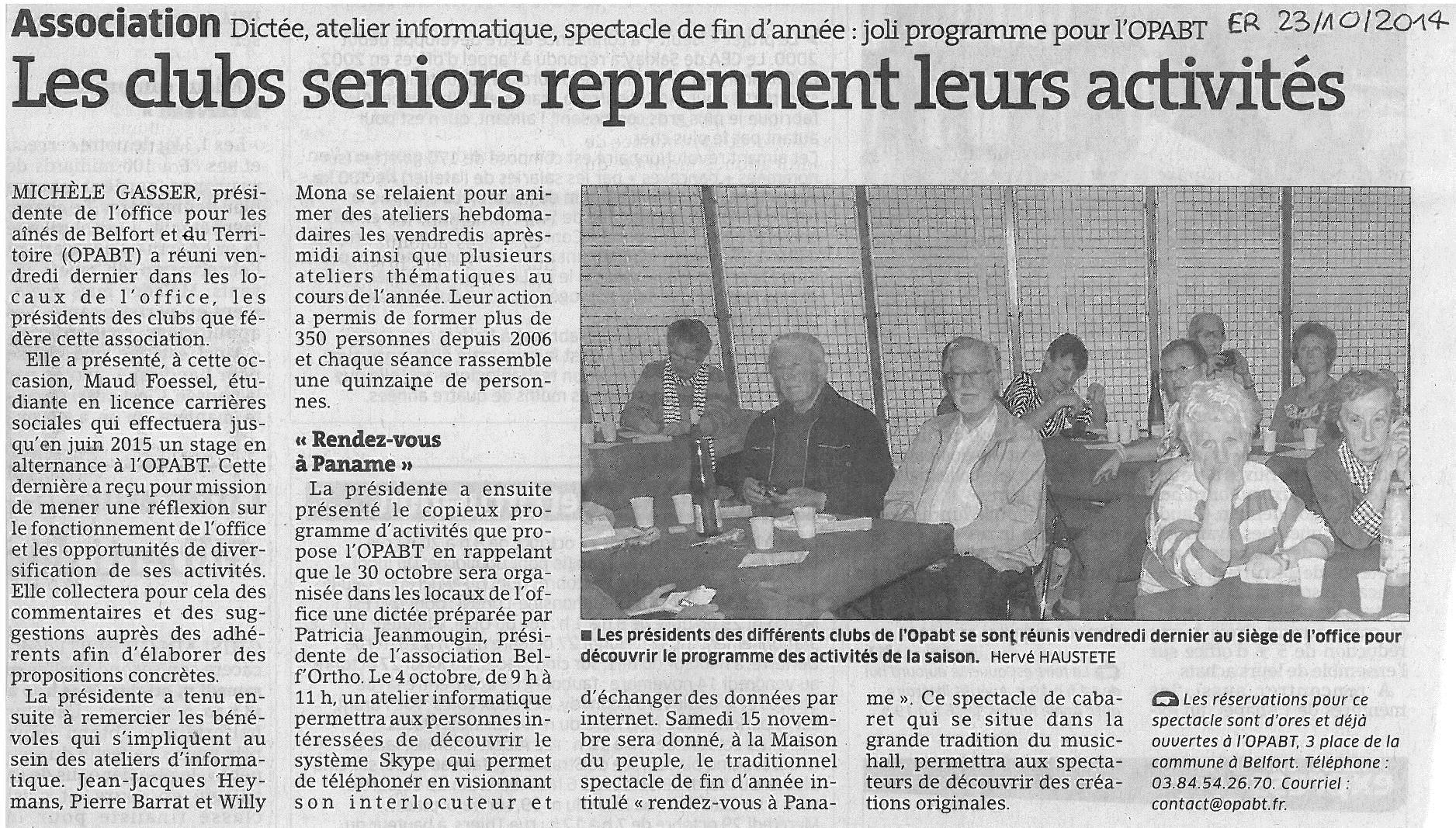 """""""Les clubs seniors reprennent leur activité"""" -  Est Républicain 23/10/2014"""