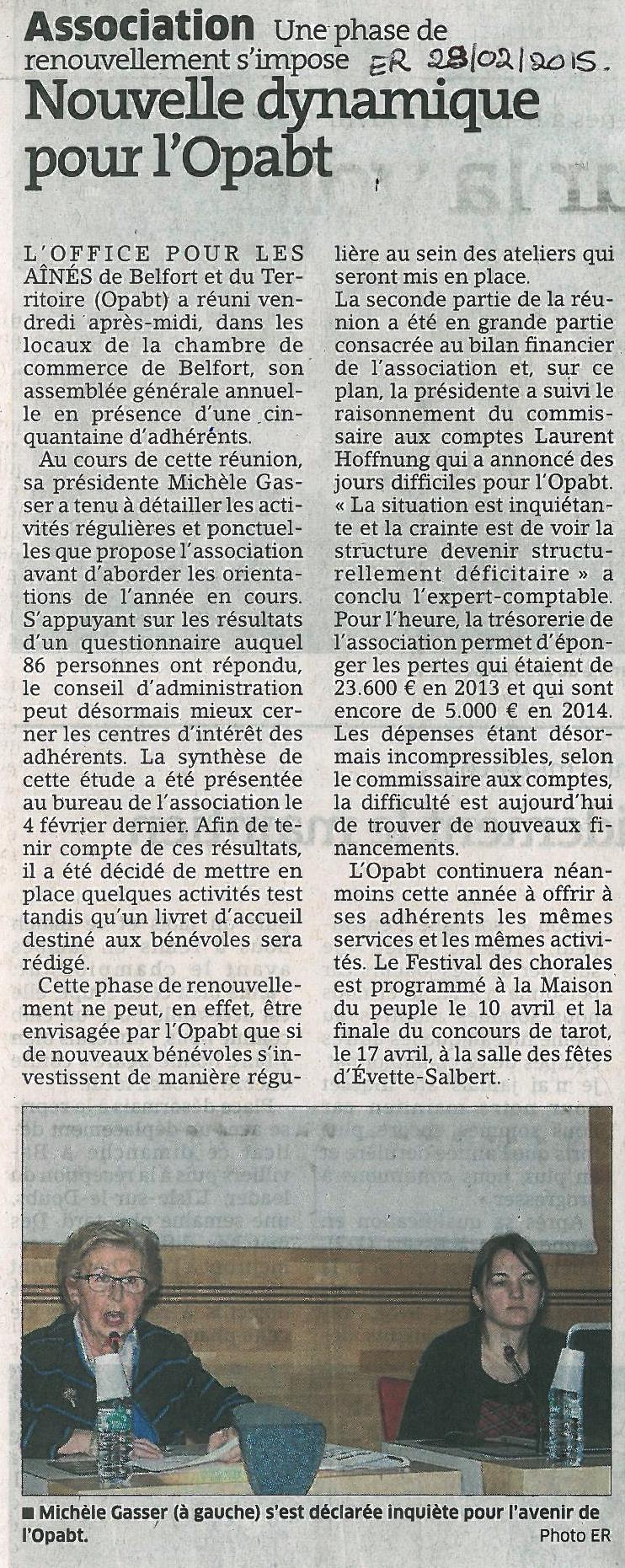 """""""Nouvelle dynamique pour l'OPABT"""" - Est Républicain 28/02/2015"""