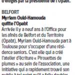 Myriam Ould-Hamouda quitte l'OPABT - Est Républicain 25/09/2018