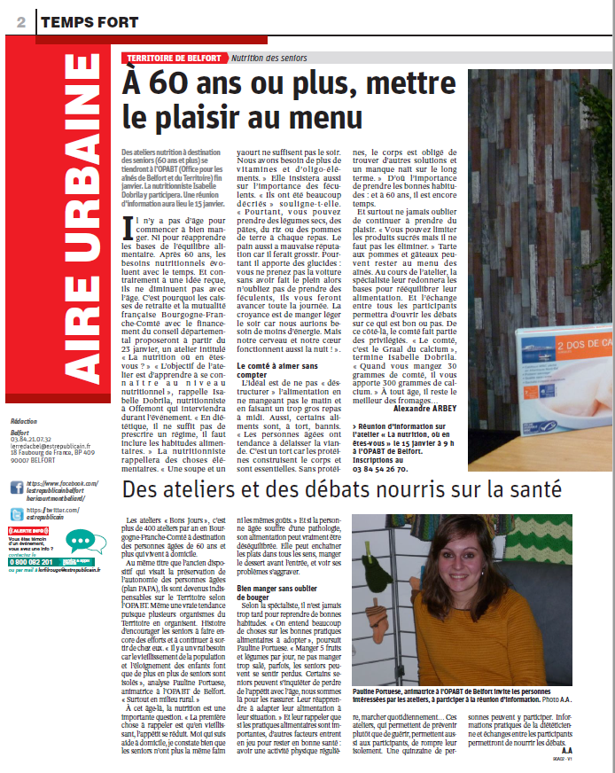 Nutrition des seniors p.1 - Est Républicain 08/01/2019