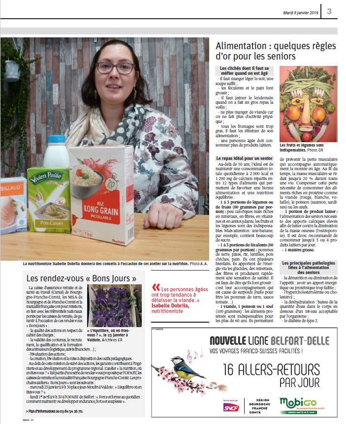 Nutrition des seniors p.2 - Est Républicain 08/01/2019