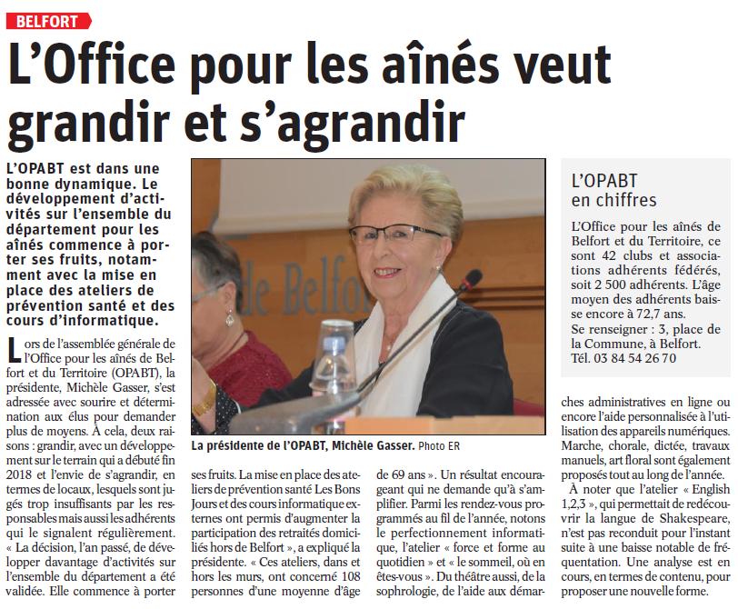 L'Office Pour les Aînés veut grandir et s'agrandir - Est Républicain 15/03/2019